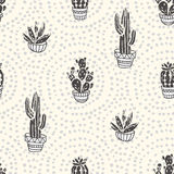 Succulents and cacti plants on the dot background. Vector seamless pattern with home garden cartoon cactus. vector illustration
