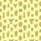 Succulents and cacti yellow vector seamless pattern. Minimalistic design. Stock Image