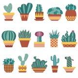 Succulents d'american national standard de cactus dans des pots de fleur réglés Image libre de droits