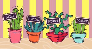 Succulents decorative banners cacti green plants vector illustration. Nature botanical houseplant floral banner. Cactus royalty free illustration