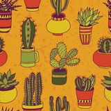 Succulents garden - seamless pattern. Succulents in pots seamless pattern. Sweet vector background stock illustration