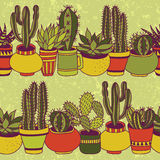 Succulents garden - seamless pattern. Succulents in pots seamless pattern. Sweet vector background royalty free illustration