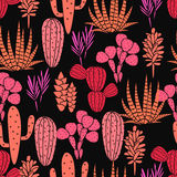 Succulents plant vector seamless pattern. Botanical black and pink rose cactus flora fabric print. Royalty Free Stock Photo