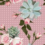 Succulents and roses vector seamless pattern royalty free illustration