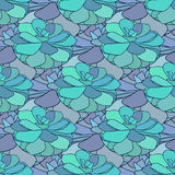 Succulents seamless pattern. Vector illustration. Textile design in blue and green colors Stock Photos