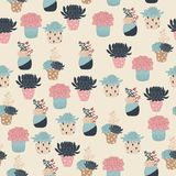 Succulents vector seamless pattern Stock Photo