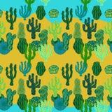 Succulents in woestijn Naadloos vectorpatroon met cactus Royalty-vrije Stock Afbeeldingen