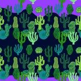 Succulents in woestijn Naadloos vectorpatroon met cactus Stock Fotografie