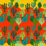 Succulents in woestijn Naadloos vectorpatroon met cactus Royalty-vrije Stock Foto's