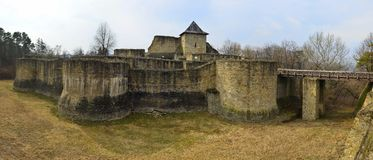 Suceava fortress panorama. Beautiful panoramic view over the thick outer walls of the Suceava fortress Stock Image