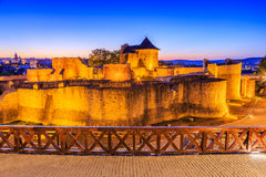 Suceava, Romania. Moldavia, Romania. Ruins of Suceava fortress at twilight Royalty Free Stock Photos