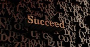 Suceda - letras rendidas 3D de madeira/mensagem ilustração do vetor
