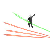 Sucess in Business. A 3d image of business man which riding on green arrow Stock Photography