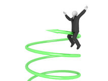 Sucess in Business. A 3d image of business man which riding on green arrow Stock Photos