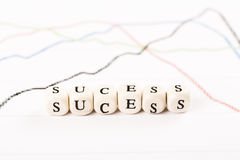 SUCESS word written with wooden cubes Stock Images