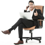 The sucessful businessman multitasking Stock Image