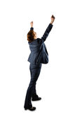 Sucessful businesswoman in suit cheering Royalty Free Stock Photo