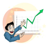 Sucessful bussiness. Happy Man pointing at a positive chart, with green arrow going up Stock Image