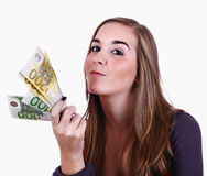 Sucessful woman. Holding a great amount of european notes Royalty Free Stock Photos