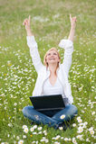 Sucessfull Girl with laptop Stock Image