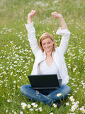 Sucessfull Girl with laptop Stock Images