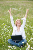 Sucessfull Girl with laptop Royalty Free Stock Images