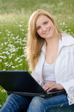 Sucessfull Girl with laptop Royalty Free Stock Photo