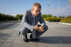 Sucessfull man. Near office building Royalty Free Stock Photos