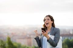 Sucesso comercial fêmea do empresário Fotos de Stock
