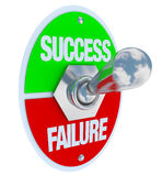 Sucesso contra a falha - interruptor de alavanca Foto de Stock