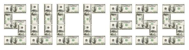 Sucesso da palavra feito com dólar Imagem de Stock