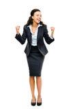 Sucesso de vencimento da mulher de negócios preta afro-americano isolado foto de stock royalty free