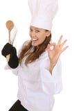 Sucesso do cozinheiro chefe da mulher Imagem de Stock Royalty Free