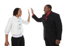Sucesso do homem e da mulher de negócio Fotos de Stock Royalty Free