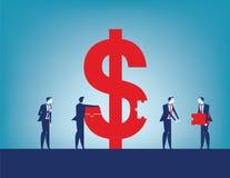 Sucesso do investimento dos colegas Equipe do negócio que recolhe o sinal de dólar com partes Ilustra??o do vetor do neg?cio do c ilustração stock