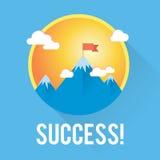 Sucesso do vetor e conceito da vitória Bandeira no pico de montanha Foto de Stock