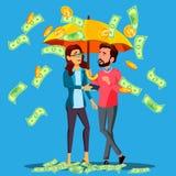 Sucesso financeiro, homem de negócio e suportes da mulher sob o guarda-chuva sob o vetor de queda do dinheiro Ilustração isolada ilustração royalty free