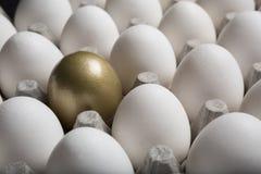 Sucesso financeiro que encontra o ovo e a posição dourados para fora da multidão fotos de stock