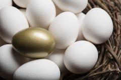 Sucesso financeiro que encontra o ovo e a posição dourados para fora do close up da multidão Foto de Stock Royalty Free