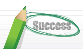 Sucesso. ilustração do texto do lápis e do bloco de notas Fotografia de Stock Royalty Free