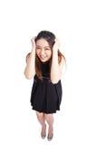 Sucesso/mulher negócio do vencedor que cheering o comprimento completo isolado Imagem de Stock Royalty Free