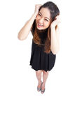 Sucesso/mulher negócio do vencedor que cheering o comprimento completo isolado Imagens de Stock Royalty Free