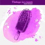 Sucette tirée par la main de crème glacée de chocolat de style de croquis Photographie stock