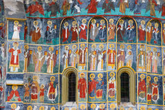Sucevita修道院,其中一个著名被绘的修道院在罗马尼亚,联合国科教文组织遗产,罗马尼亚 免版税库存图片