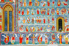 Sucevita修道院,其中一个著名被绘的修道院在罗马尼亚 图库摄影