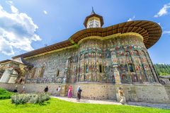 Sucevita修道院,其中一个Bucovine修道院 免版税库存照片