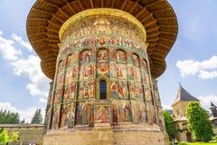 Sucevita建筑学细节,其中一个Bucovine修道院 图库摄影