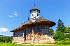 Монастырь Sucevita, один из известных покрашенных монастырей в Румынии, Румыния Стоковое фото RF