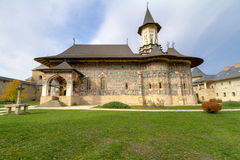Sucevita Monastery. Is located in the southern part of the historical region of Bukovina. It was built in 1585. The architecture ot the church contains both royalty free stock image