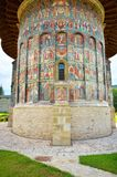 Sucevita monastery outdoor painted walls details Stock Images